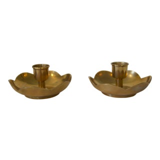 Late 20th Century Vintage Korean Brass Flora-Form Candle Holders - a Pair For Sale