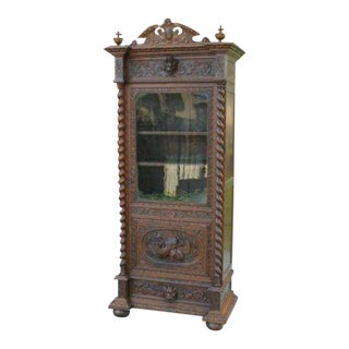 19th Century French Oak Renaissance Revival Barley Twist Bookcase Cabinet With Drawer For Sale