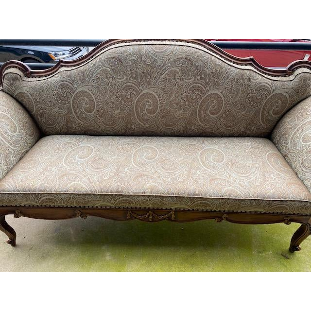 Early 19th C. French Walnut Settee With Guilt Accents For Sale - Image 10 of 13