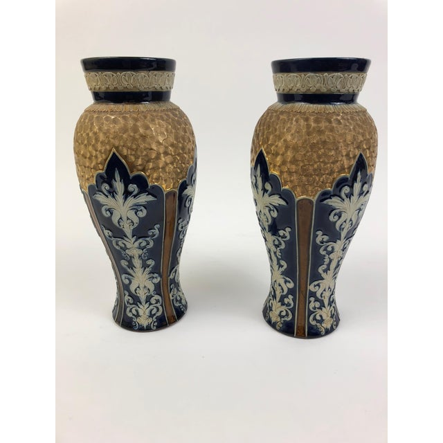 """Royal Doulton Pair of Royal Doulton Lambeth Blue and Gilt Ceramic Vases in """"Gilt Circle Pattern with Enamel"""", circa 1876-1925 For Sale - Image 4 of 4"""