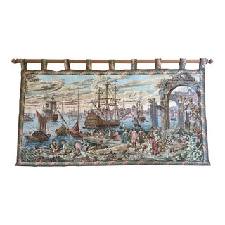 Vintage Italian Woven Tapestry For Sale