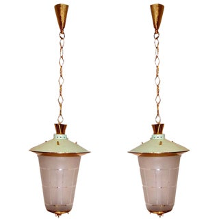 Pair of Mid-Century Italian Hanging Lanterns For Sale
