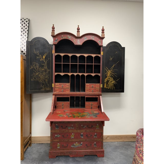 20th Century Chinoiserie Red Lacquered Bureau Bookcase For Sale - Image 13 of 13