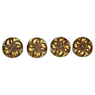 French Antique Bronze Daisy Mounts - Set of 4 For Sale