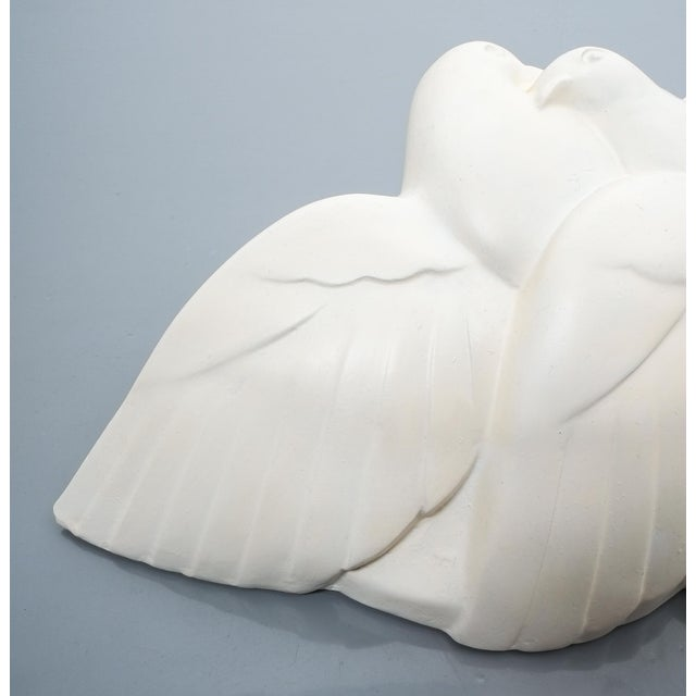 Pair of Art Deco White Plaster Dove Sconces Wall Lamps, France Circa 1935 For Sale - Image 9 of 10