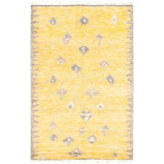 "6'2"" X 9'5"" Yellow Moroccan Style Hand-Knotted Rug For Sale"