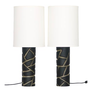 Vivarini for Formia Murano Glass Table Lamps, Signed With Shades - a Pair For Sale