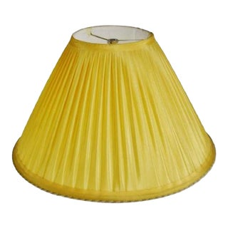 Vintage Pleated Fabric Lampshade With Decorative Piping For Sale