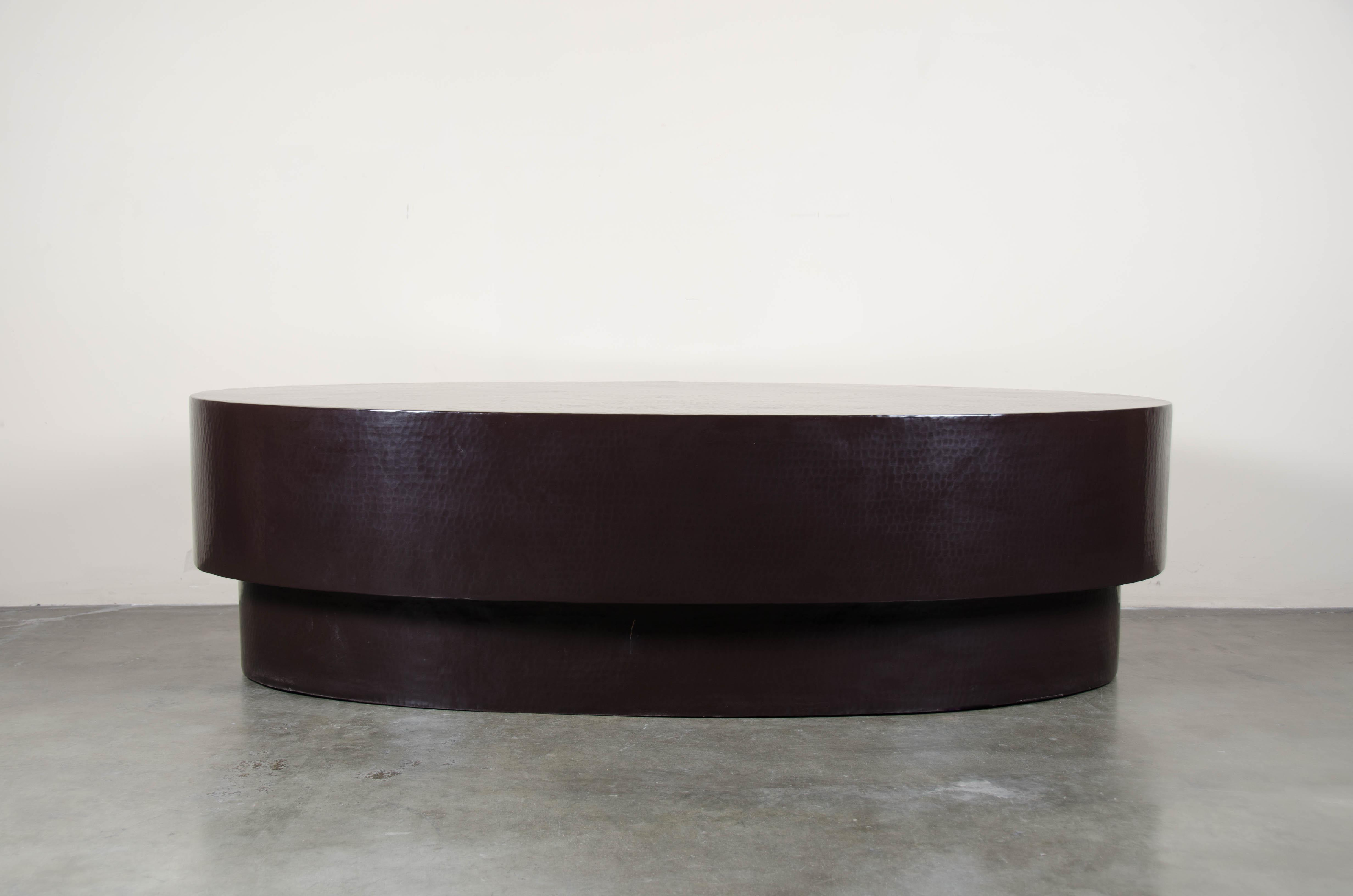 Incredible Oval Coffee Table Antique Copper By Robert Kuo Hand