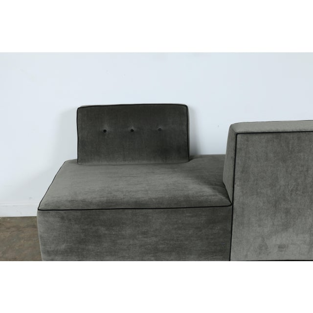 Modern Mohair Double Sided Sofa For Sale - Image 4 of 11