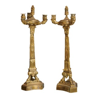 Pair of Directoire Gilt Bronze Three-Light Candelabra For Sale