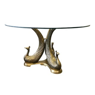 Brass Peacock Occasional Table Base For Sale