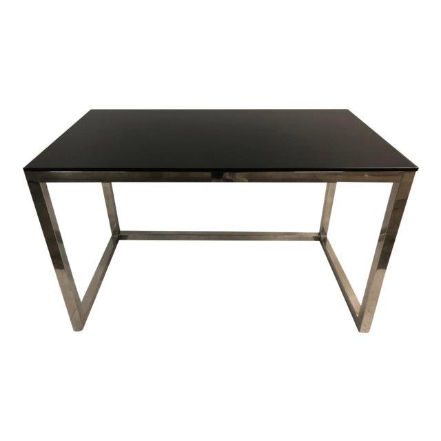 1960s Milo Baughman Style Mid Century Black Glass Chrome Writing Desk For Sale