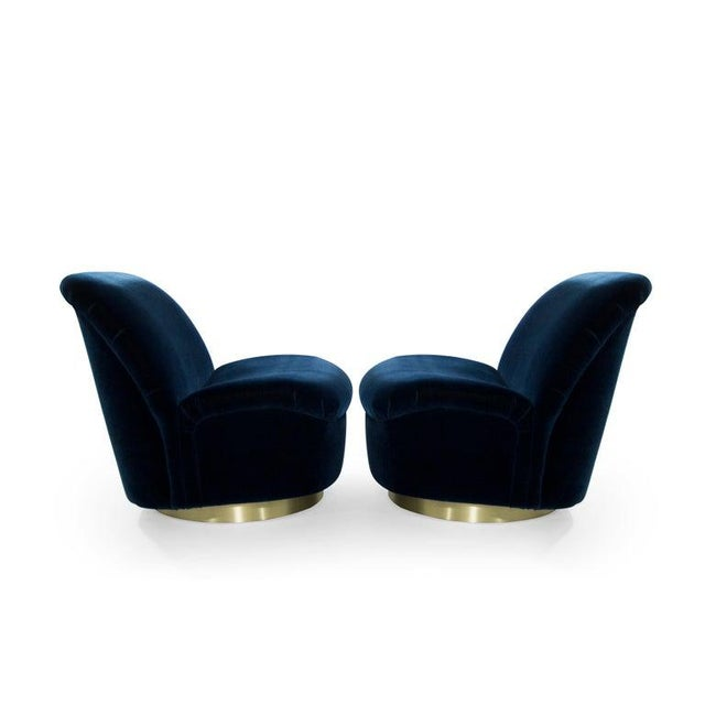 Metal Navy Blue Mohair and Brass Seating Suite by Directional, 1960s - Set of 4 For Sale - Image 7 of 9