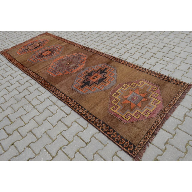 Hand Knotted Turkish Runner Rug - 3′11″ × 10′9″ - Image 2 of 10