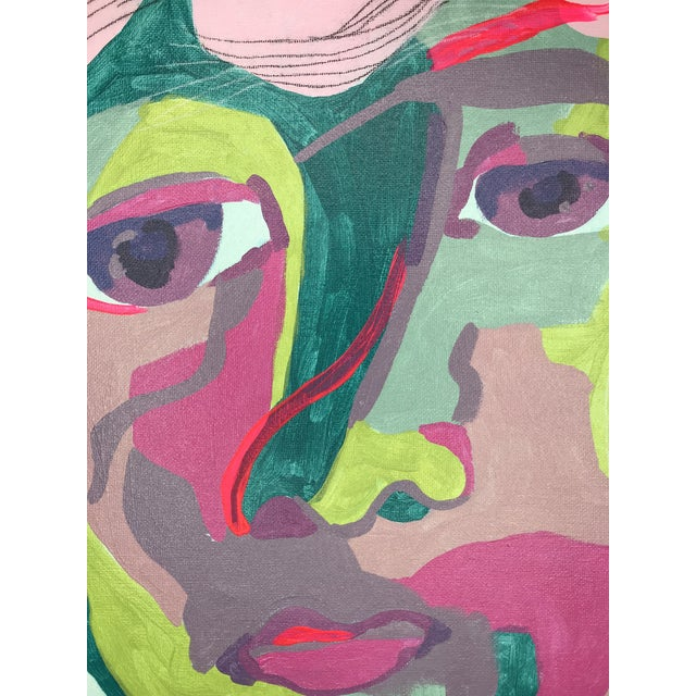 "Contemporary Abstract Portrait Painting ""It Goes by Fast, No. 3"" - Framed For Sale - Image 4 of 10"