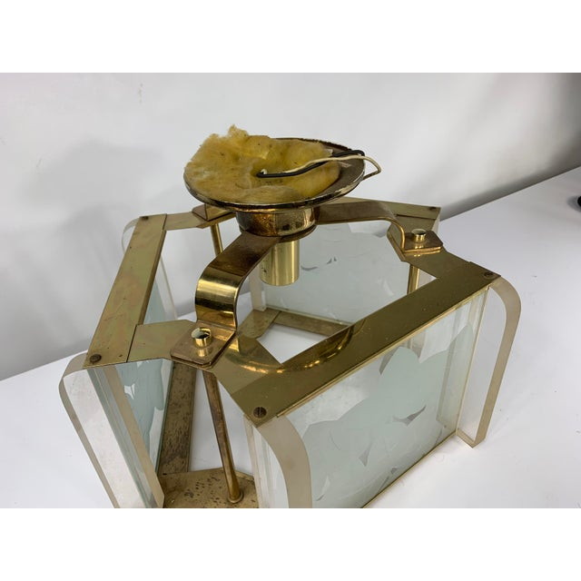 Vintage Modern Fredrick Ramond Brass & Lucite Etched Glass Light Fixture For Sale In New York - Image 6 of 8