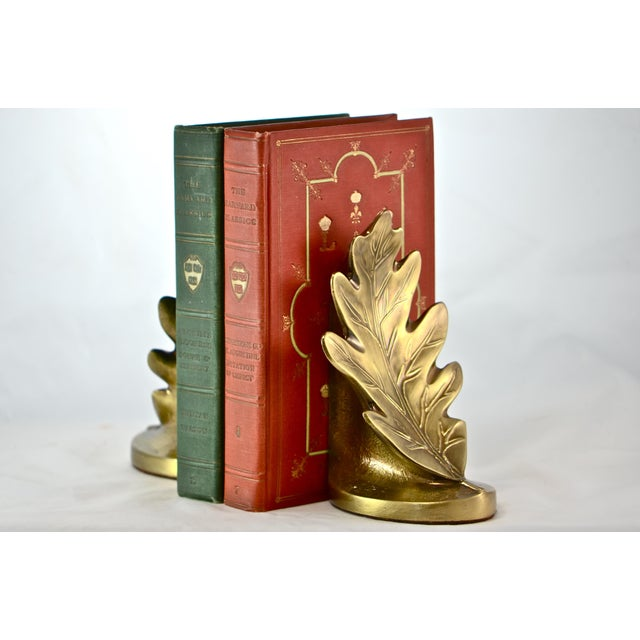 Brass Oak Leaf Bookends - A Pair - Image 4 of 8
