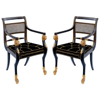 Pair of Early 19th Century English Parcel-Gilt Armchairs by Gillows For Sale