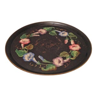 Vintage Tole Paint Lazy Susan Tray For Sale