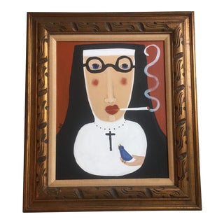 """Contemporary Folk Artist Rose Walton """"Smoking Nun"""