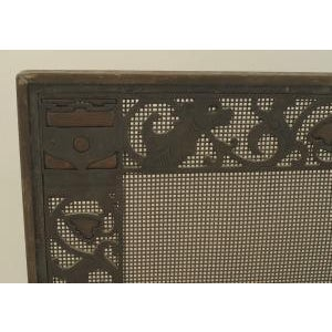 American Arts and Crafts wrought iron and bronze fire place andirons and screen For Sale - Image 10 of 11