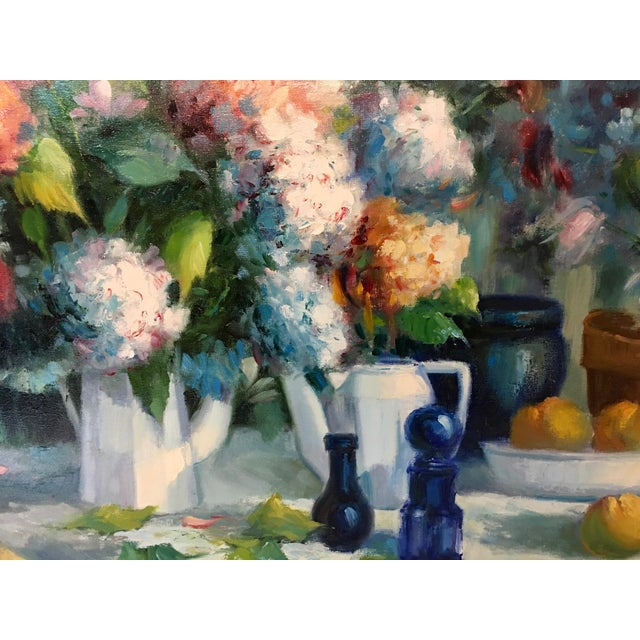 Vintage Still Life With Flowers Oil Painting by Manuel Cuberos For Sale - Image 4 of 12