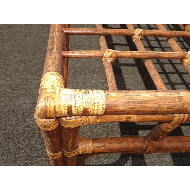 Wood Vintage Mid Century Brown Bamboo Rattan Rustic Coffee Table For Sale - Image 7 of 11