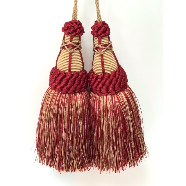 Shabby Chic Pair of Key Tassels in Red and Gold With Looped Ruche Trim For Sale - Image 3 of 11