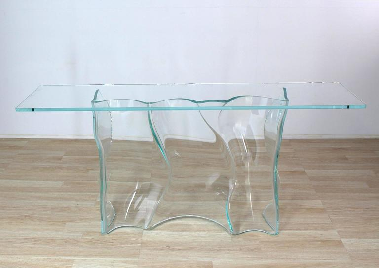 glass form furniture coffee table very unusual studio piece freeform molded glass console table with thick top exceptional organic free form molded glass wave pattern large