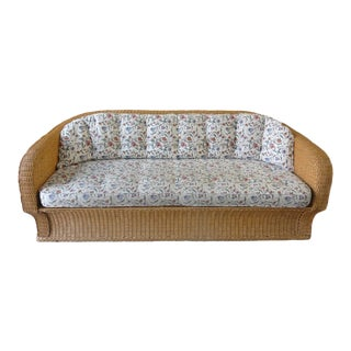 1970s Vintage Woven Rattan Sofa For Sale