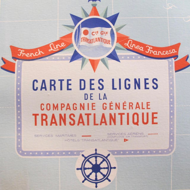Original Vintage French North American Route Map, the French Line For Sale - Image 4 of 8