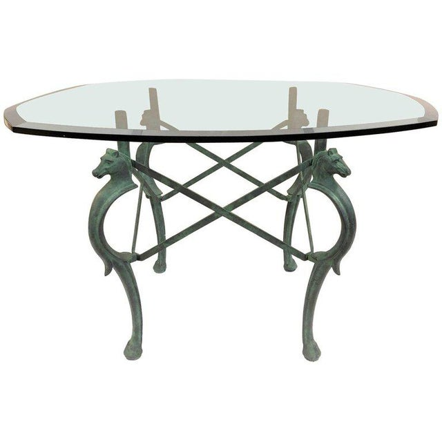 Fine French HandForged Patinated Iron Seahorse Table DECASO - Seahorse coffee table