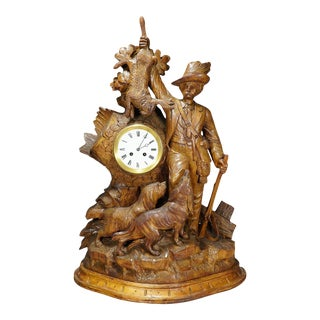 Black Forest Mantel Clock With Hunter Presenting His Hunted Game For Sale