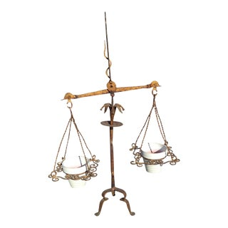 Italian Gilt Iron Scales of Justice Planter For Sale