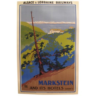 Original French Vintage Art Deco Travel Poster, Markstein Its Hotels For Sale