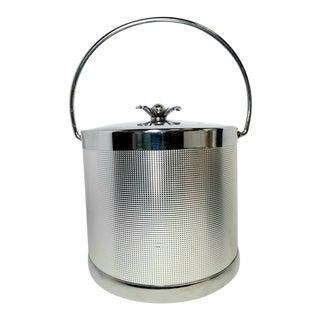 Vintage Serv Master Ice Bucket Silver Chrome Me ic Flower Mid-Century Modern For Sale