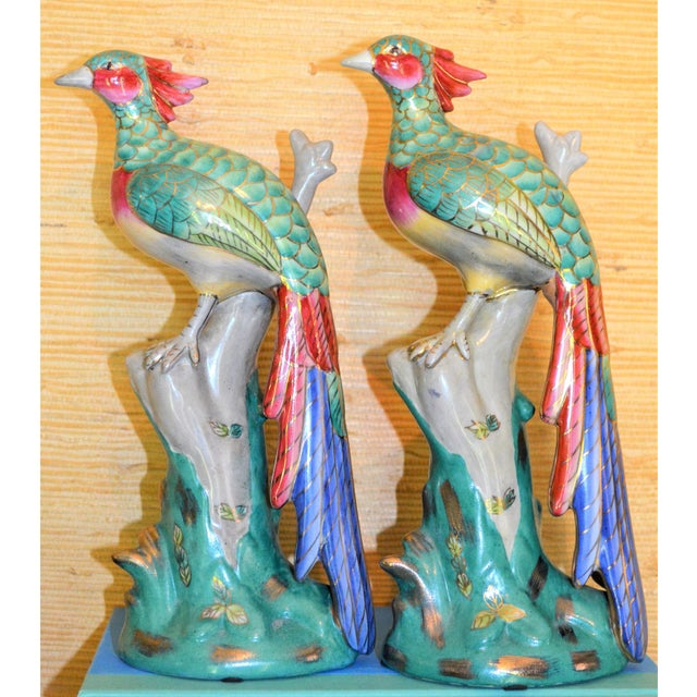 Chinese Export Porcelain Pheonix Bird Figurines - a Pair For Sale - Image 9 of 13