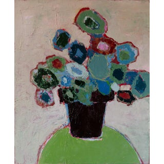 """Bill Tansey """"Mixed Blue"""" Abstract Floral Oil Painting on Canvas For Sale"""