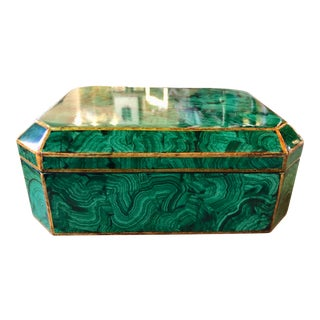 1970s Vintage Matiland-Smith Faux Malachite Box For Sale