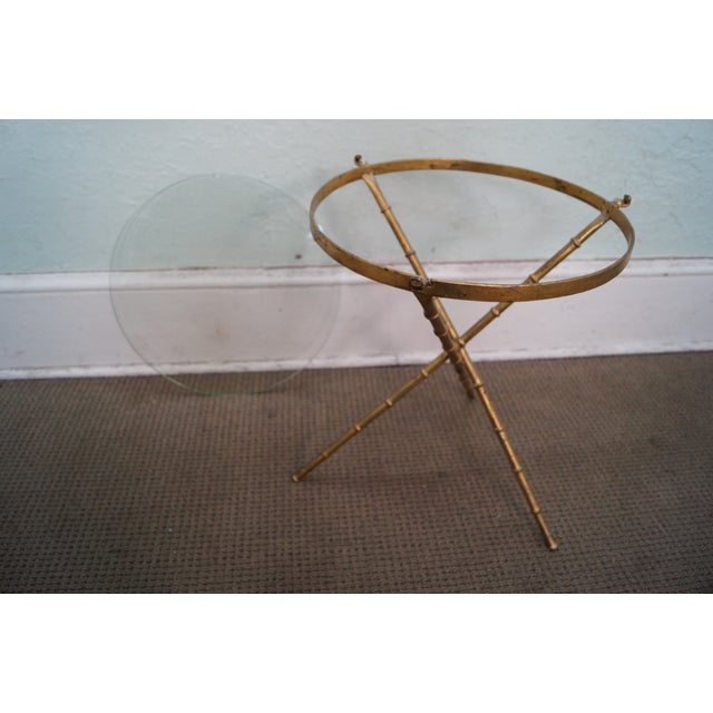 Vintage Gilt Metal Faux Bamboo Side Table For Sale - Image 9 of 10