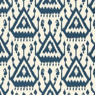 Sample - Schumacher Vientiane Ikat Wallpaper in Indigo Blue For Sale