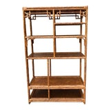 Image of Chinoiserie Rattan Bamboo Etagere For Sale