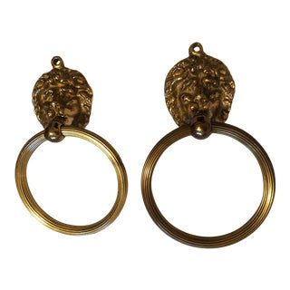 1960s Mid-Century Lion Head Towel Rings - a Pair For Sale