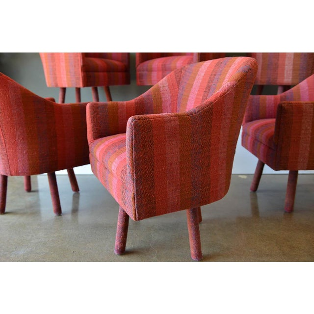 Jack Lenor Larsen Pair of Swivel Armchairs With Vintage Jack Lenor Larsen Fabric, Circa 1970 For Sale - Image 4 of 8
