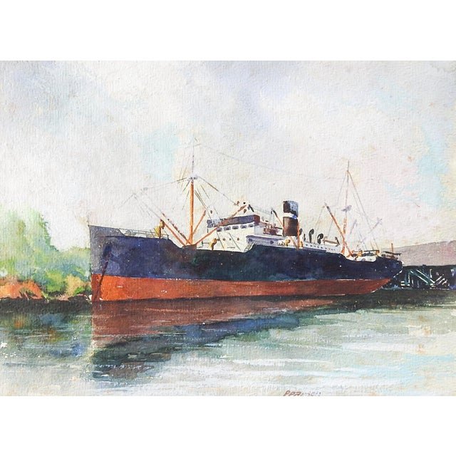 Vintage Steamship Watercolor Painting For Sale - Image 4 of 4