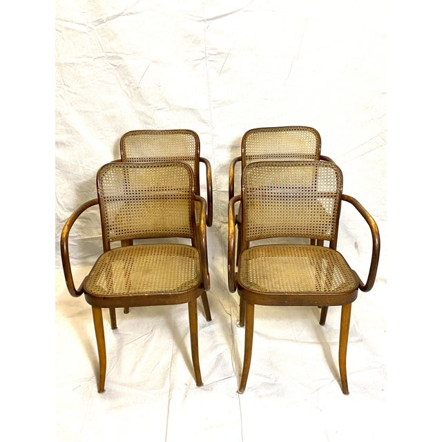 Rare Antique Stendig Set of 4 Bentwood French Stitched Nylon Cane Wood Dining Chairs For Sale - Image 13 of 13