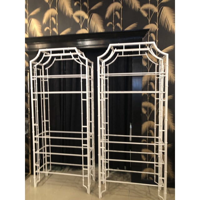 Vintage Chinese Chippendale White Powder-Coated Faux Bamboo Pagoda Etageres - A Pair For Sale - Image 13 of 13