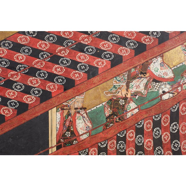 Metal Japanese Edo Bugaku Imperial Court Dance Two-Panel Screen For Sale - Image 7 of 13