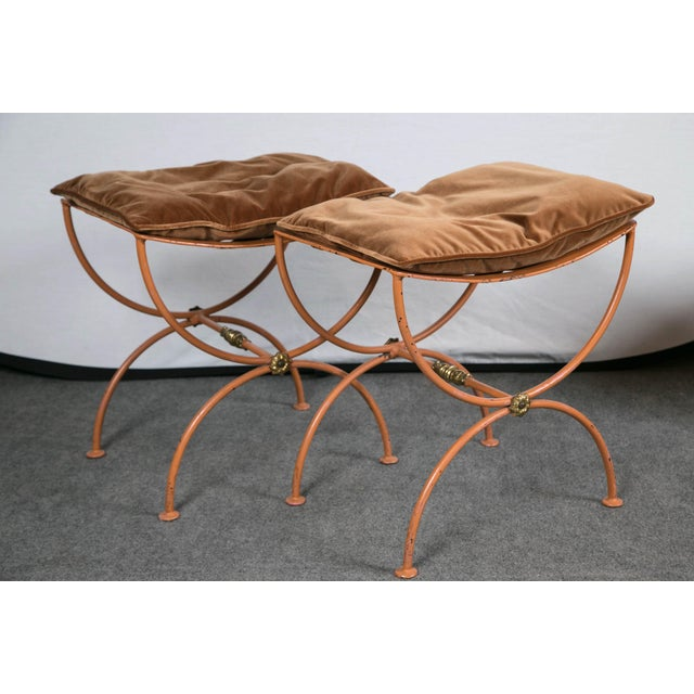 Jean Charles Moreux Burnt Orange Tole Benches - a Pair For Sale - Image 9 of 9